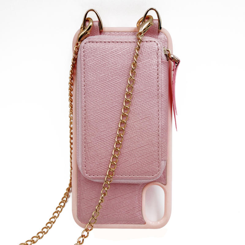 High quality leather wallet crossbody iphone case with chain/strap