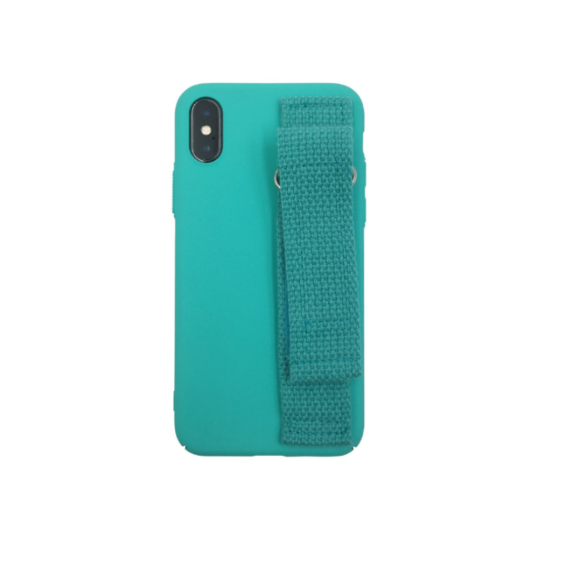 Hard PC rubber coated phone case with hand strap