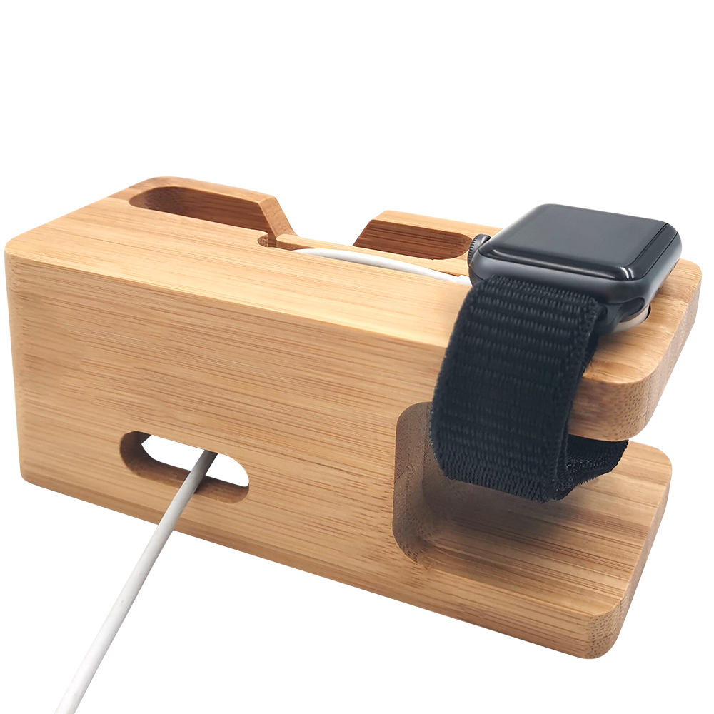 2 in 1 bamboo holder for apple watch&cell phone