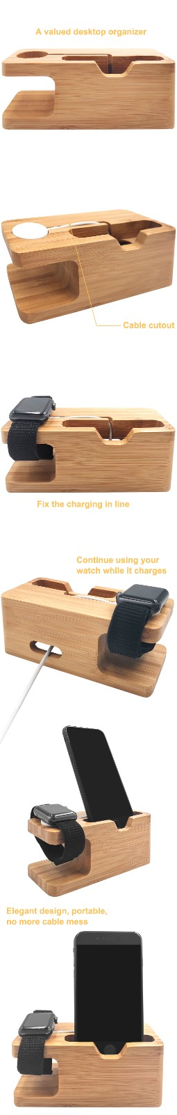 product-2 in 1 bamboo holder for apple watchcell phone-TenChen Tech-img