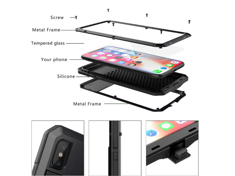 Waterproof metal phone case