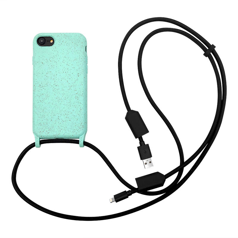 TENCHEN USB type C lighting charging cable lanyard crossbody mobile phone case