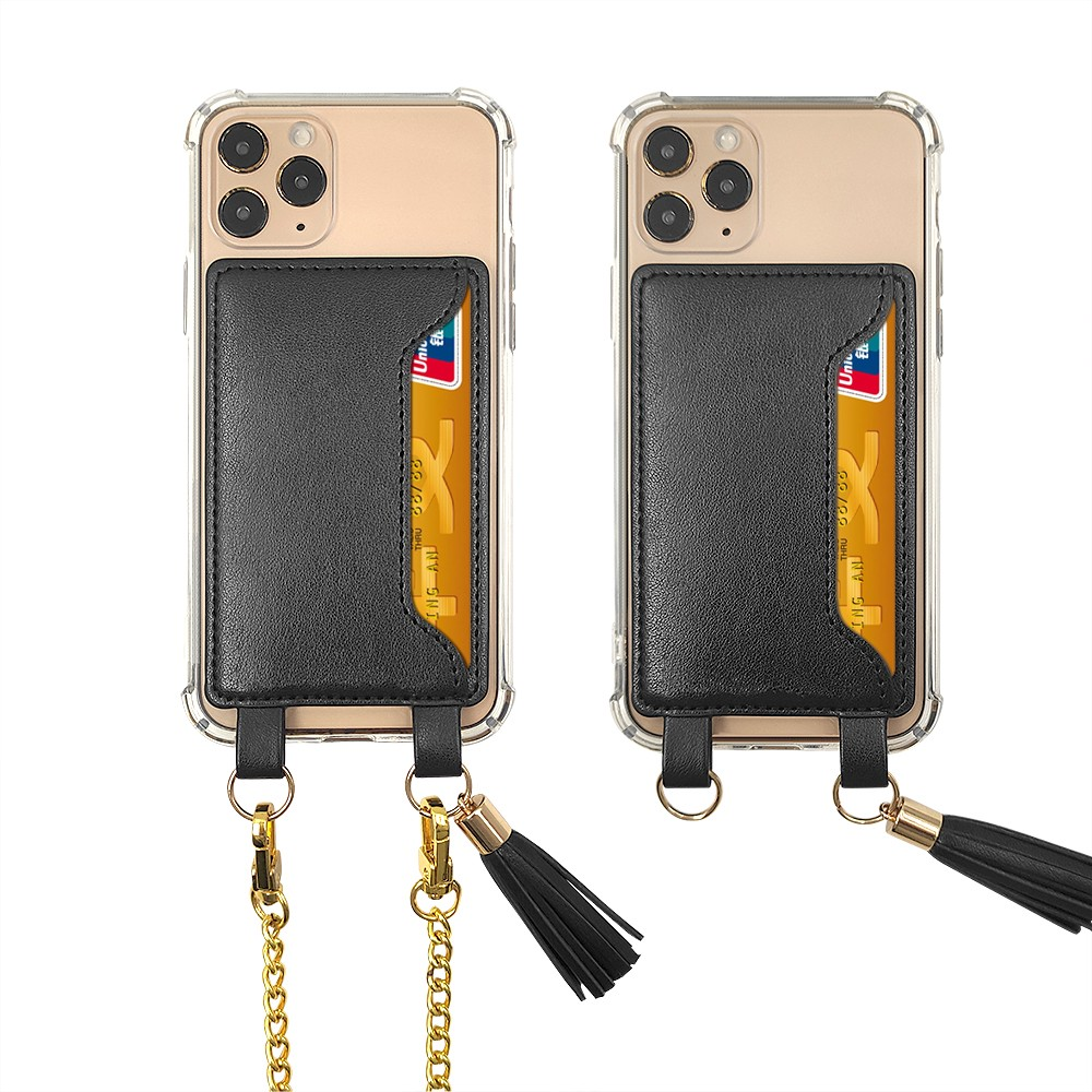 news-Blank tpu pc clear hybrid plastic case+leather card holder with lanyardcrossbody phone case-Ten