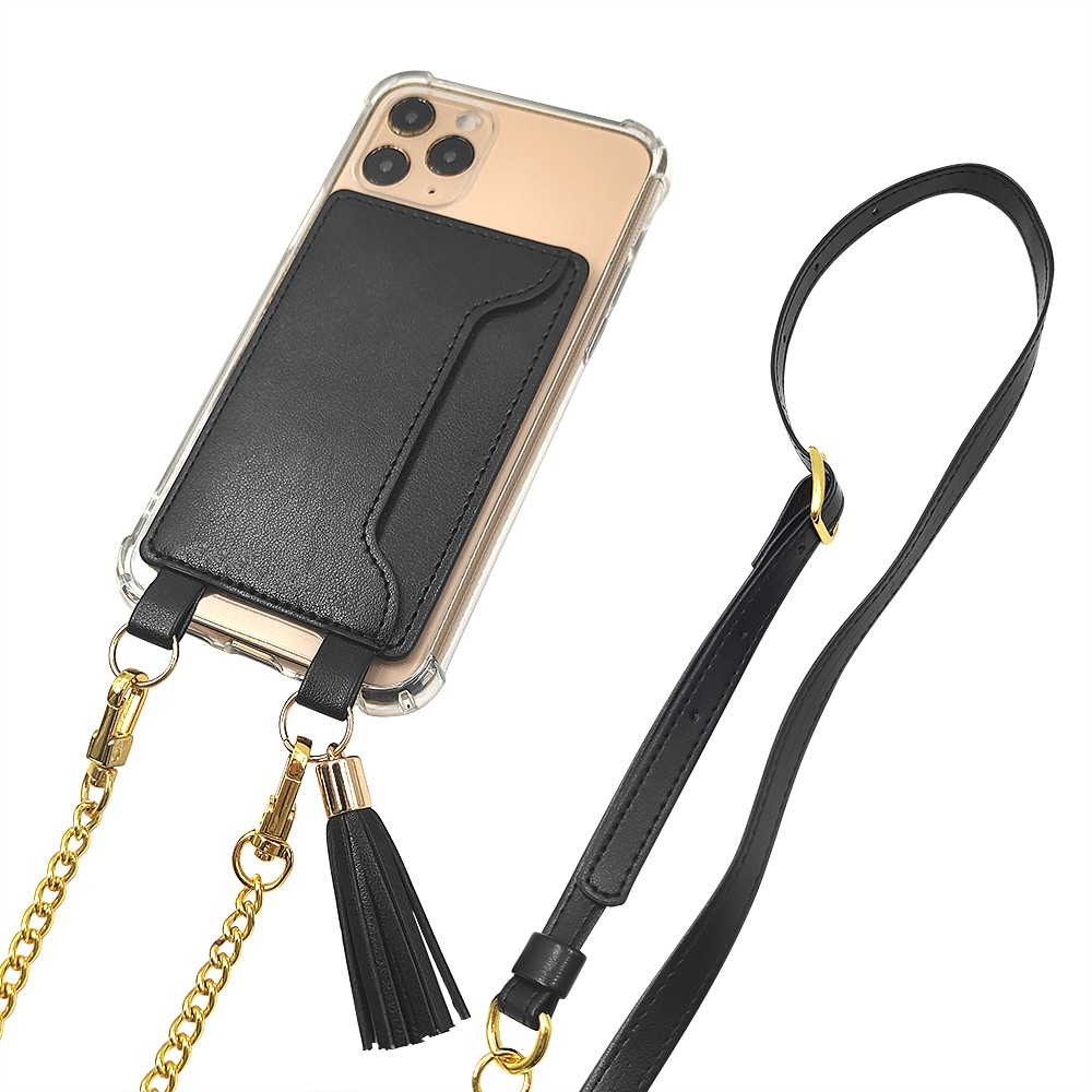 news-TenChen Tech-Blank tpu pc clear hybrid plastic case+leather card holder with lanyardcrossbody p-1