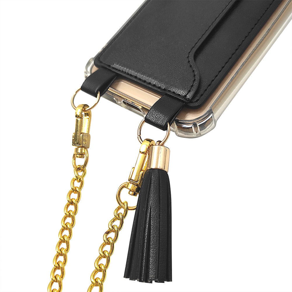 TENCHEN clear tpu pc crossbody phone case with leather card holder