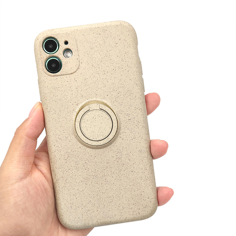 TENCHEN Eco friendly compostable degradable plant fiber zero waste kickstand phone case with finger ring rotation holder