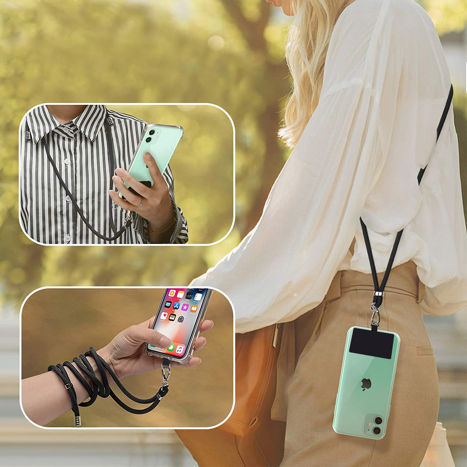 product-TENCHEN Adjustable Detachable Neck Strap with Phone Patch Phone Lanyard Compatible with Any -1