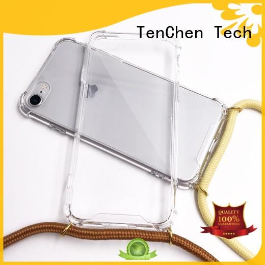 Transparent TPU PC case with strap/lanyard for iPhone